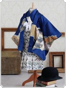 紺兜に山、松